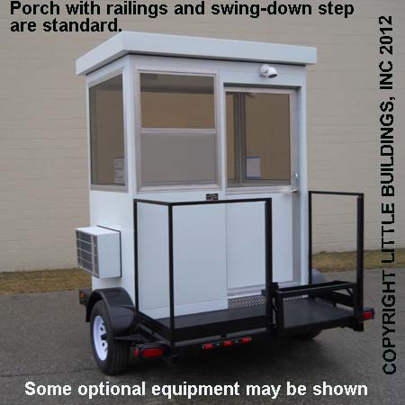 Guard House Trailer showing swing down step, railing