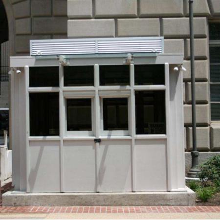 Guard House Bullet Resisting includes sliding transaction windows, exterior lighting, ribbed exterior, and much more.  Custom or standard, Little Buildings has the security office solution for you!