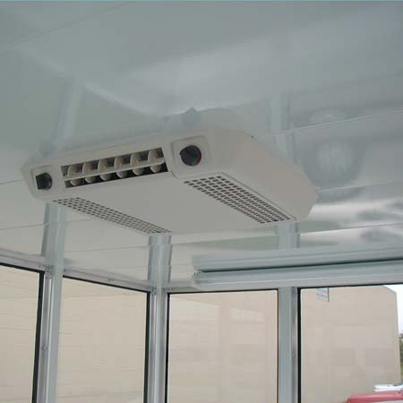 Bullet resisting guardhouse showing optional roof mounted air conditioner with ceiling grill.