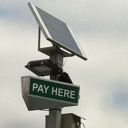 Pay on Foot lighted sign with solar powered LED light