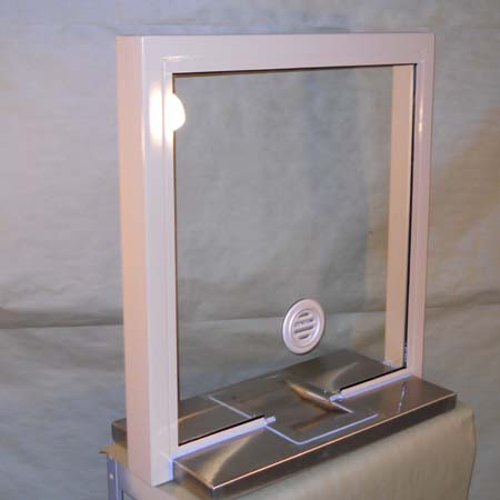 Ticket Window with built in coin tray
