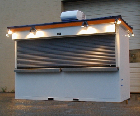 Ticket Booth 4 window with heavy duty galvanized steel shutters for security