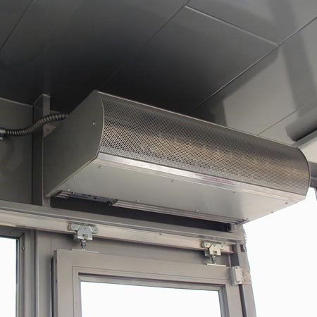 Air curtain forced air with heat - helps keep HVAC in, bugs out!