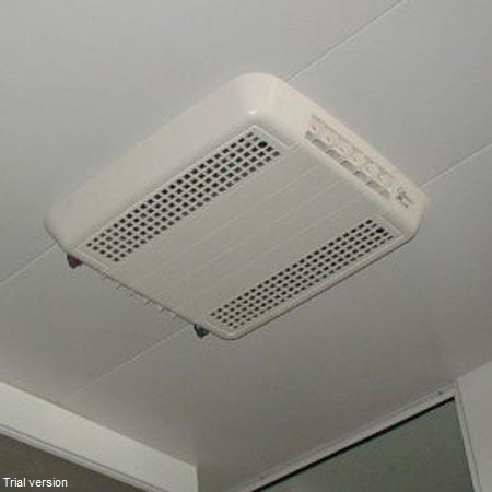 Air conditioner grill/controls out of the way on ceiling